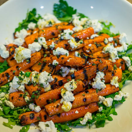 Charred Carrots With Goat Cheese